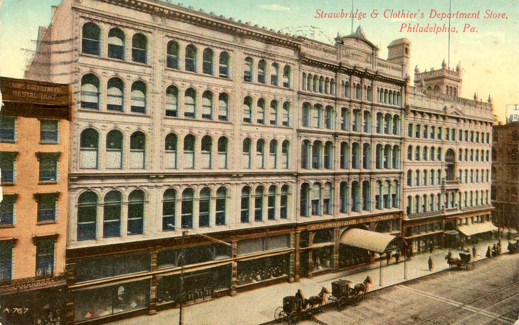 This 1911 postcard shows Strawbridge & Clothier's five story building fronting Market St. Col. 274, 06x40.1 Downs Collection, Winterthur Library
