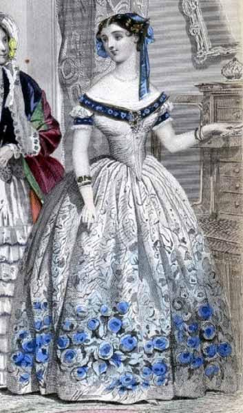 Women who wanted to dress properly for their New Year's reception could consult the January 1854 issue of Godey's Lady's Book