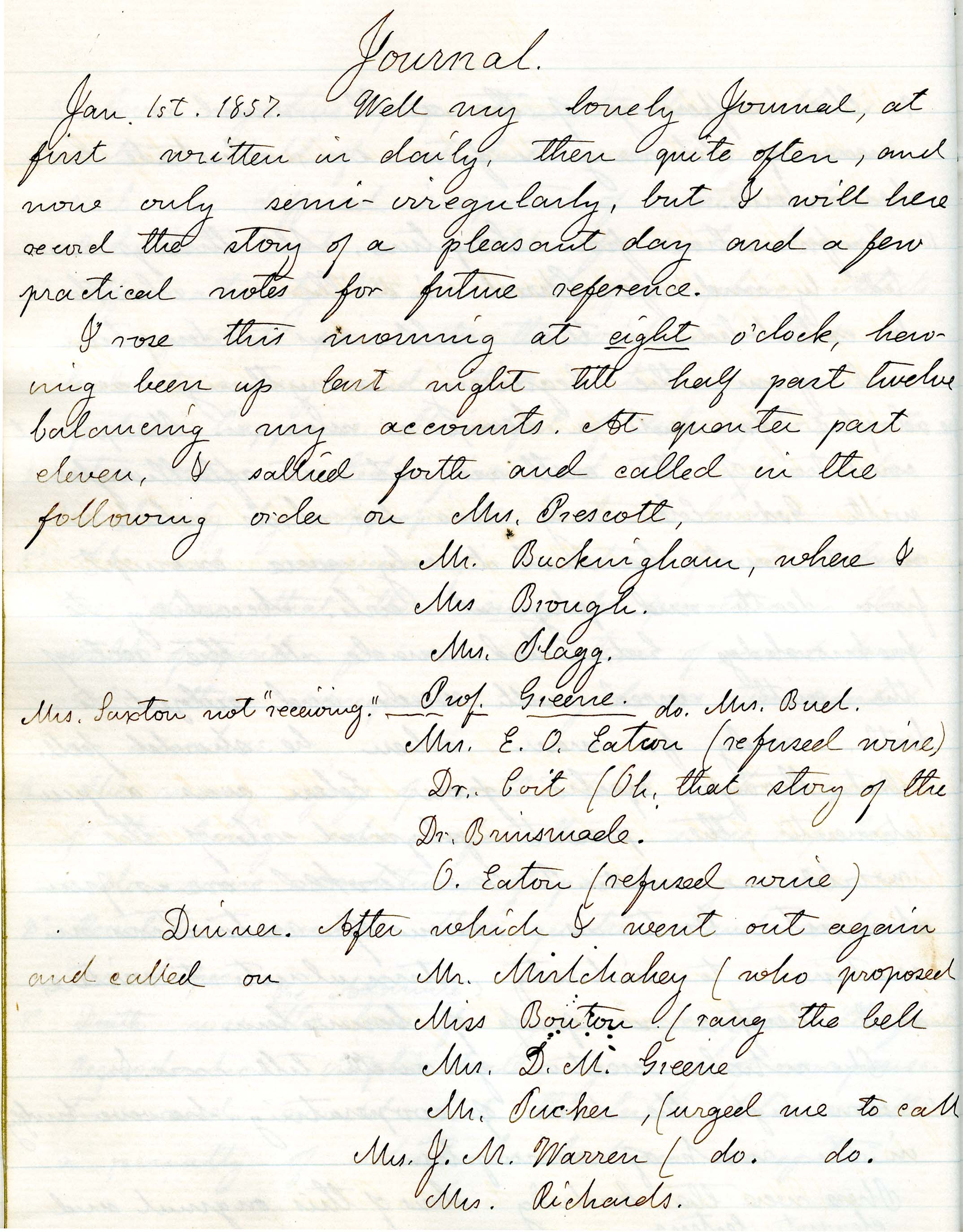 Samuel Edward Warren's first page of his January 1, 1857, entry listing some of the day's calls. Downs Collection, Winterthur Library