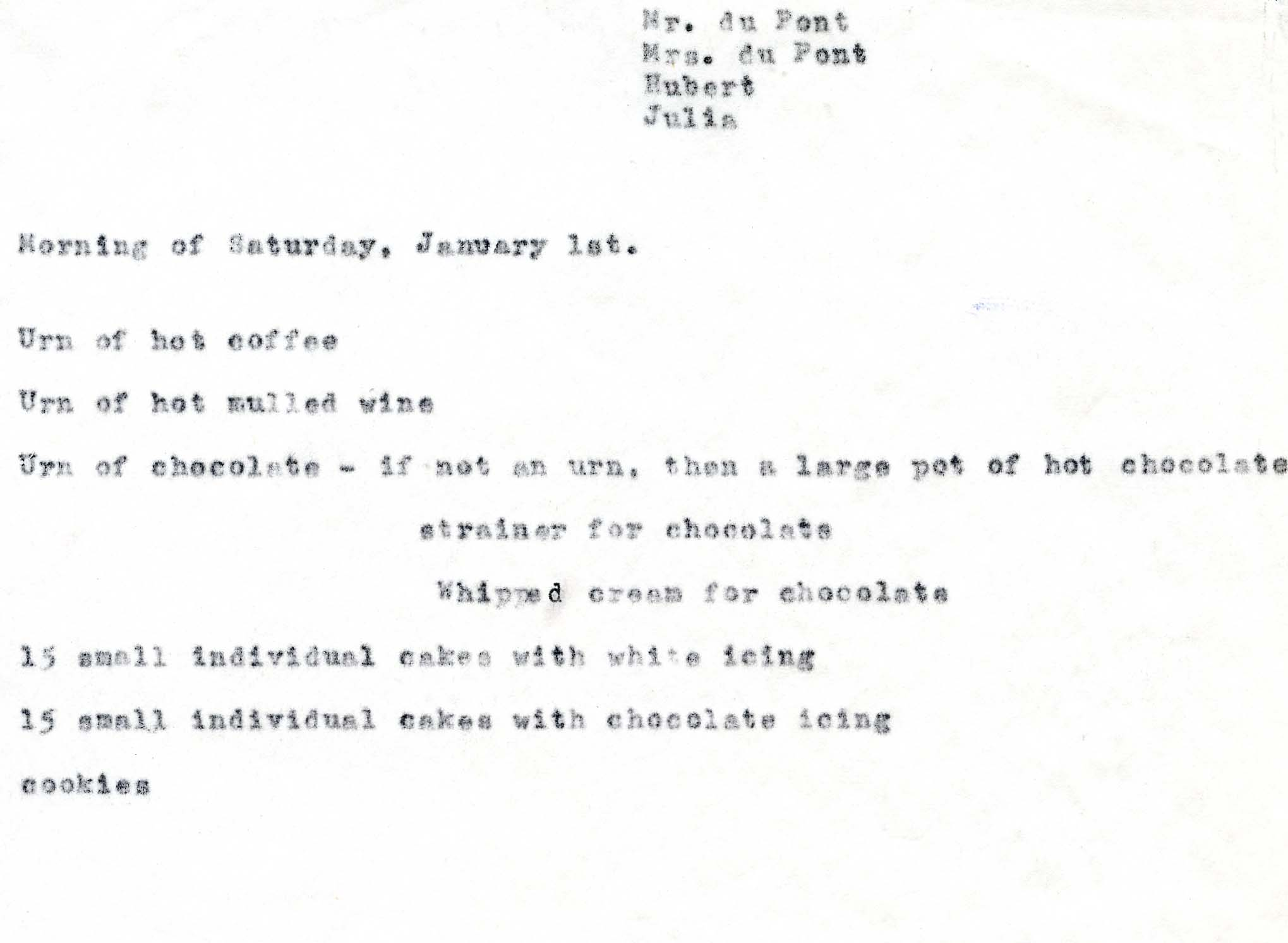 H.F. du Pont's list of treats for the 1955 New Year's reception Winterthur Archives