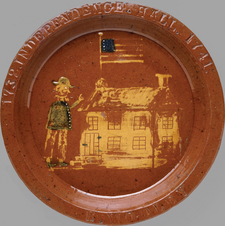 Pair of dishes, attributed to Absalom Bixler or his brother Jacob, Lancaster County, Pa., ca. 1830. Leadglazed earthenware, 14⅛ x 1½ in. Bequest of Henry Francis du Pont 1967.1660, .1662
