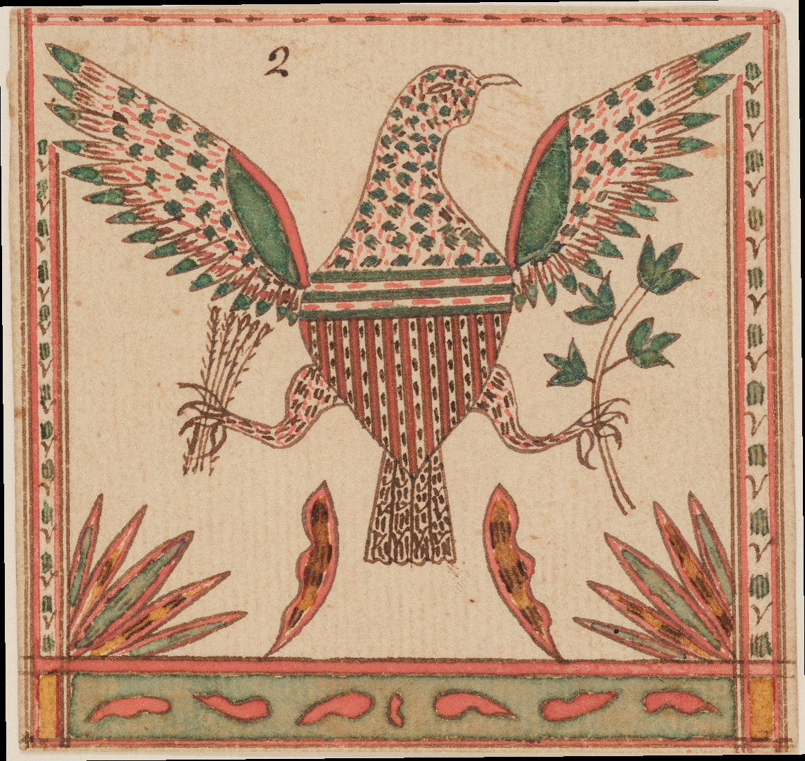Drawing of an American eagle, attributed to Johann Adam Eyer, probably Monroe County, Pa., ca. 1800. Watercolor and ink on wove paper, 3¼ x 3½ in. Museum purchase with funds provided by the Henry Francis du Pont Collectors Circle 2013.31.53