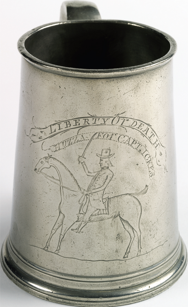 Mug owned by Captain Peter Ickes, attributed to William Will, Philadelphia, Pa., ca. 1785. Pewter, 5¾ x 6⅜ in. Bequest of Henry Francis du Pont 1967.1369