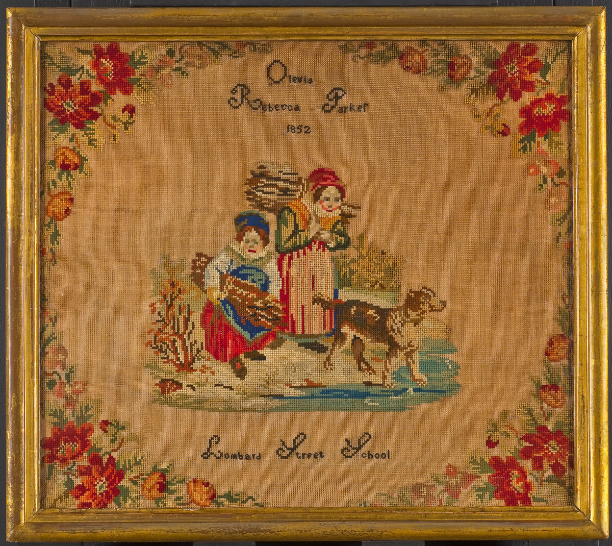 Needlework picture, Olevia Rebecca Parker, Philadelphia, 1852. Museum purchase with funds provided by the Henry Francis du Pont Collectors Circle 2009.12.1