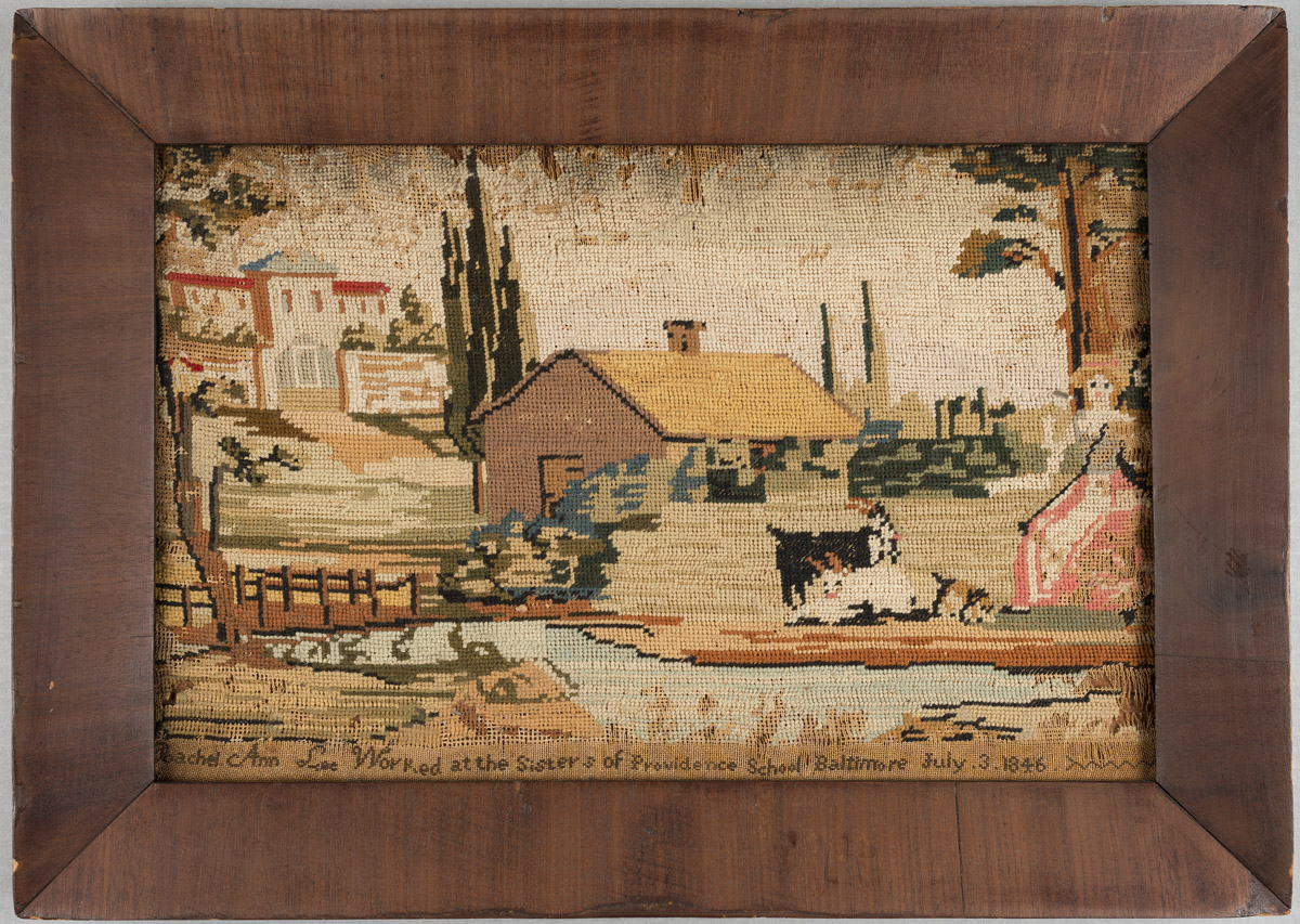 Needlework picture, Rachel Ann Lee, Baltimore, Maryland, 1846. Museum purchase with funds drawn from the Centenary Fund 2009.13