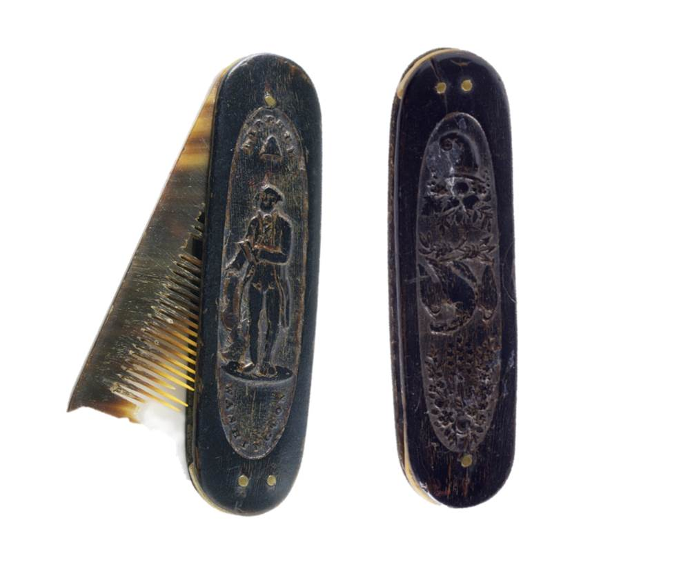 Two views of a folding comb, horn and brass, United States, 1790–1810. Bequest of Henry Francis du Pont 1953.61