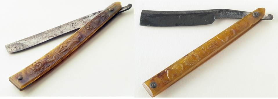 Razors with pressed horn cases. Left: razor, horn, iron, brass, blade marked WILSON, England, 1815–25. Bequest of Henry Francis du Pont 1958.2367. Right: razor, horn, iron, blade marked by William Parker, England, 1814–25. Bequest of Henry Francis du Pont 1958.2368.