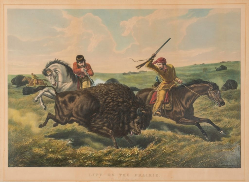 Arthur Fitzwilliam Tait, Life on the Prairie- The Buffalo Hunt, 1862, Hand-colored lithograph. Winterthur Museum, Garden & Library, Gift of Charles K. Davis 1953.0155.074.
