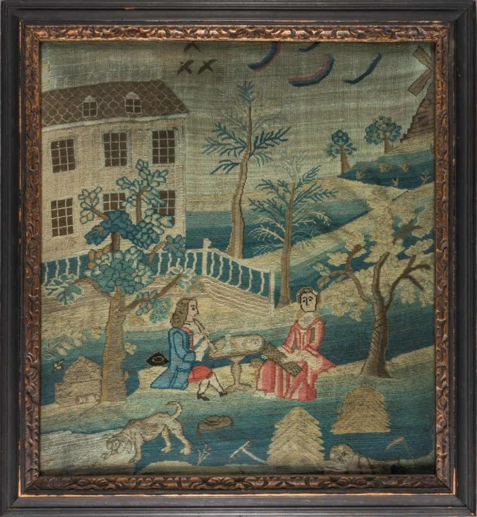 Needlework picture, Mary Perrin (1737–1815), Roxbury, Massachusetts, 1750, wool, silk, and metallic thread on linen. Museum purchase with funds provided by the Henry Francis du Pont Collectors Circle 2016.66.