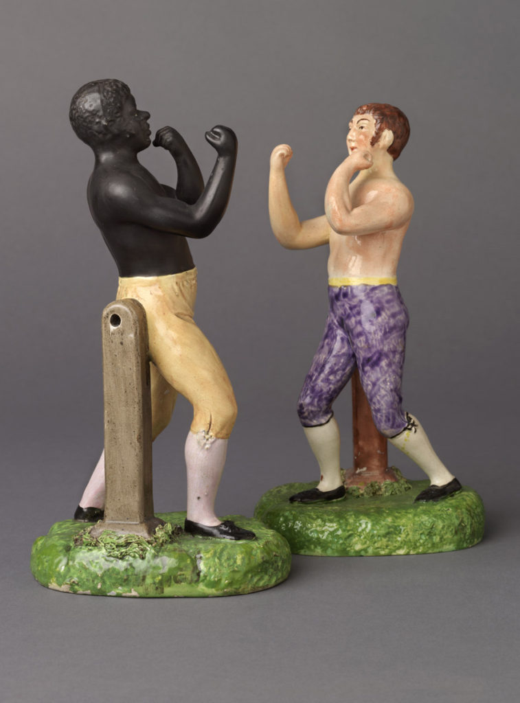 Tom Cribb and Tom Molyneaux, earthenware (pearlware), Staffordshire, England, 1812–15. Gift of Thomas N. and A. Pat Bernard 2002.30.39.1-.2