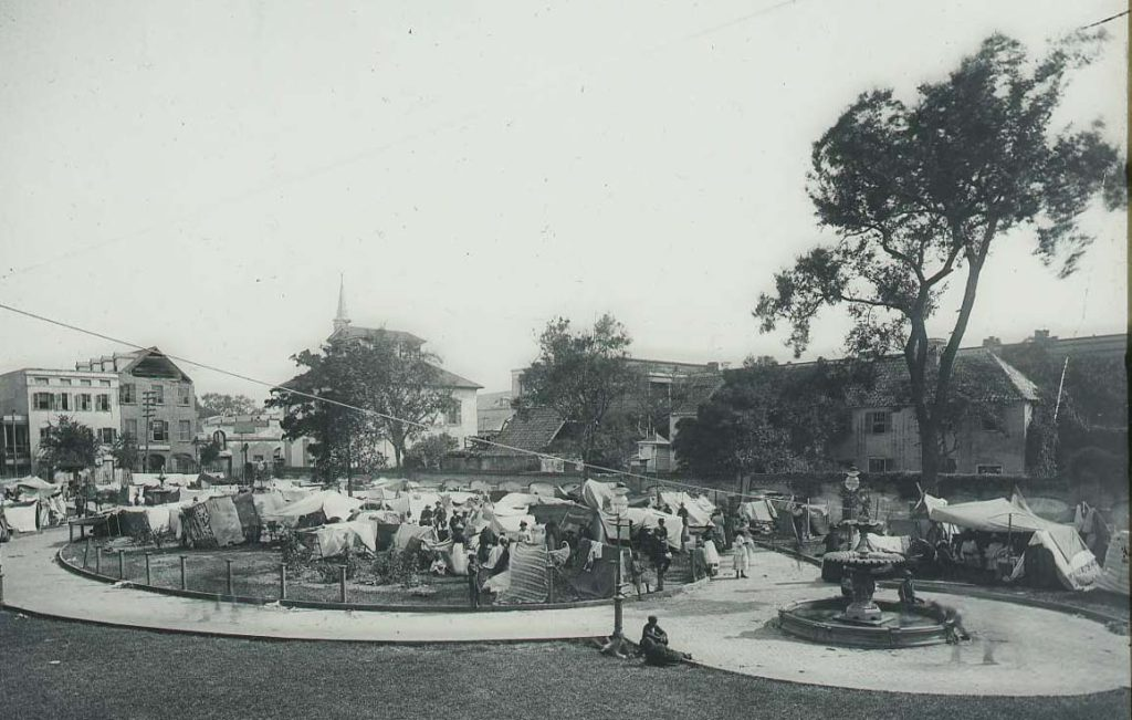 Residents living in tents in City Hall Park, Charleston, S.C. Col. 760, Downs Collection, Winterthur Library