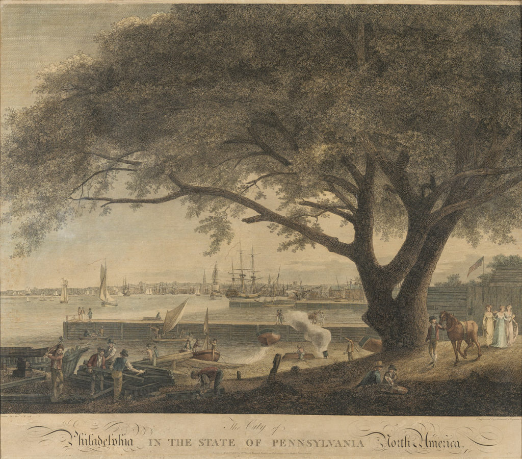 "Samuel Seymour after Thomas and William Russell Birch, ""The City of Philadelphia in the State of Pennsylvania,"" May 1, 1801, hand-colored etching, Bequest of Henry Francis du Pont 1959.2622a"