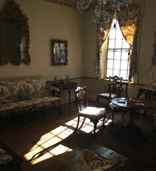 Sunlight on the upholstery in Blackwell Parlor on the 4th floor