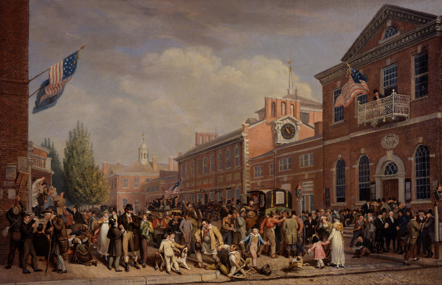Election Day in Philadelphia by John Lewis Krimmel, 1815, Philadelphia, PA, Oil paint, Canvas, Museum purchase with funds provided by Henry Francis du Pont, 1959.131