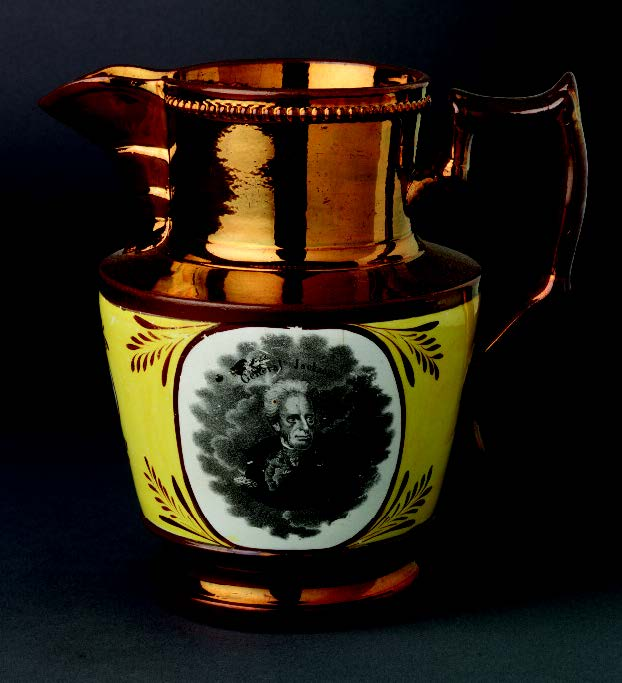 Lusterware pitcher with the portrait of Andrew Jackson, made in Staffordshire, England, 1824−30. Gift of Mr. B. Thatcher Feustman 1966.69