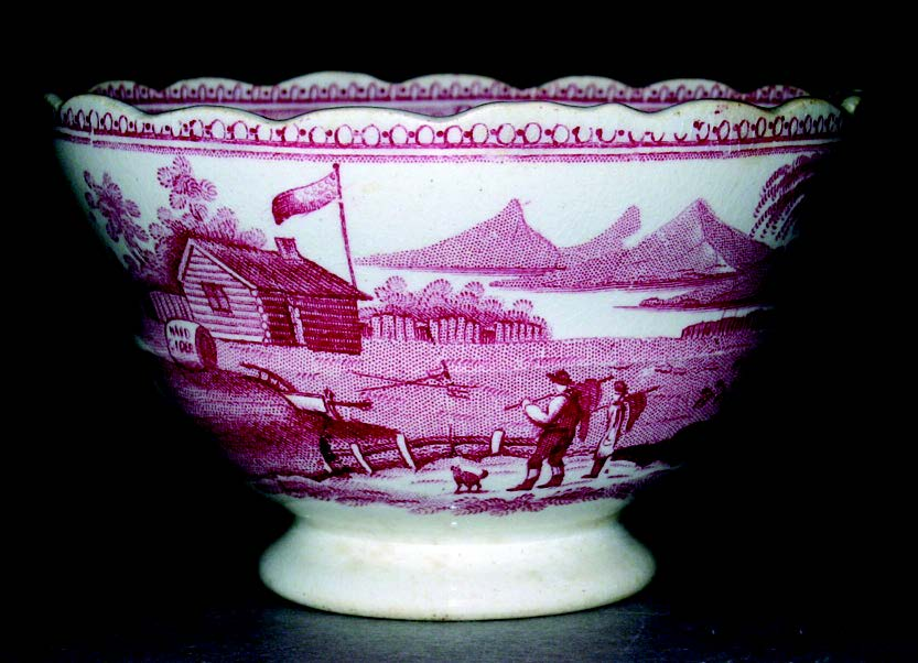 "Teacup printed with the ""Log Cabin"" pattern in support of William Henry Harrison, made by William Adams and Sons, Staffordshire, England, 1840. Bequest of Henry Francis du Pont 1969.1738.1"