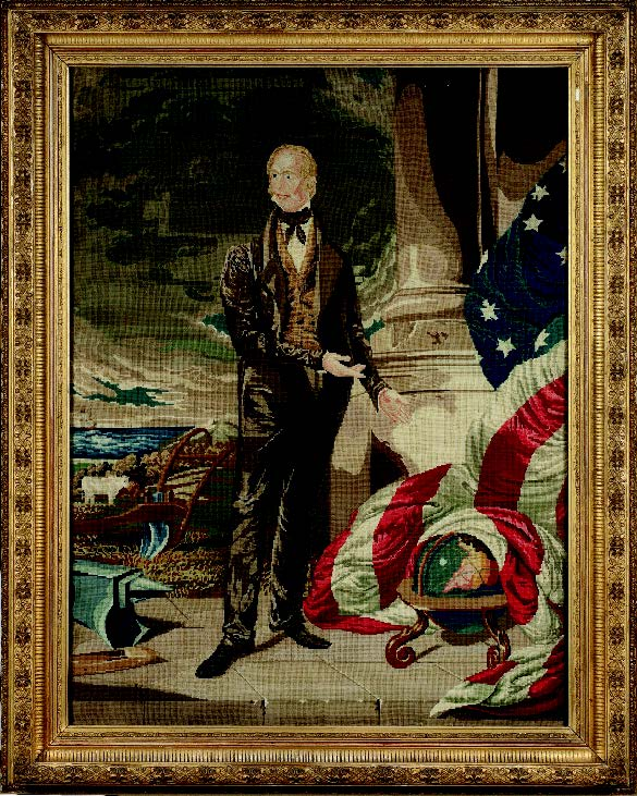 Needlework portrait of Henry Clay, made by Agnes D. Jackson, Rockaway, New Jersey, 1850. Gift of Ruth Gardiner Rathburn Pitman 2001.14