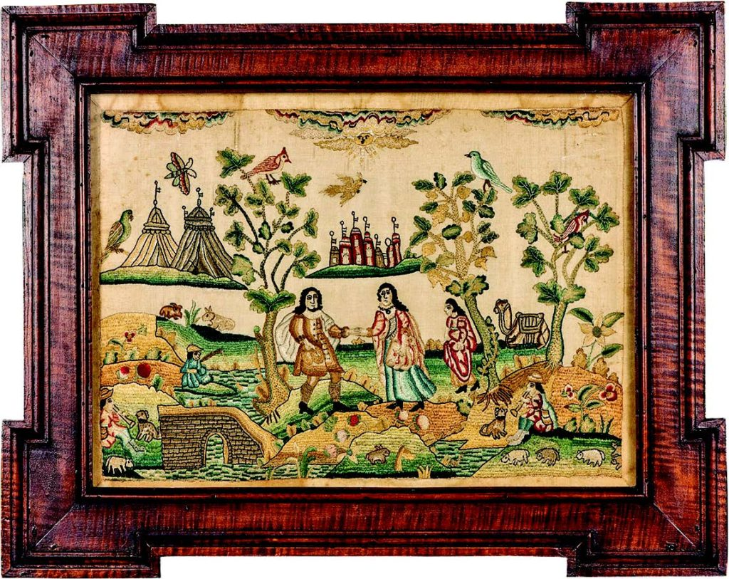 Needlework picture, probably depicting the meeting of Isaac and Rebecca. Attributed to Nancy Ann Carlisle, ca. 1690–1740. Mid-Atlantic region, possibly worked in Philadelphia. Embroidered silk on satin weave silk. Museum purchase with funds provided by Lammot du Pont Copeland (1953.0152.007A). Courtesy Winterthur Museum.