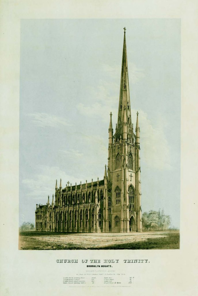 Church of the Holy Trinity, Brooklyn Heights, F. & S. Palmer, lithographers; Frances B. Palmer, artist, New York, 1845. Three-stone lithograph printed in black, tan, and blue inks on wove paper. Winterthur Museum (1973.0567); Library Purchase.