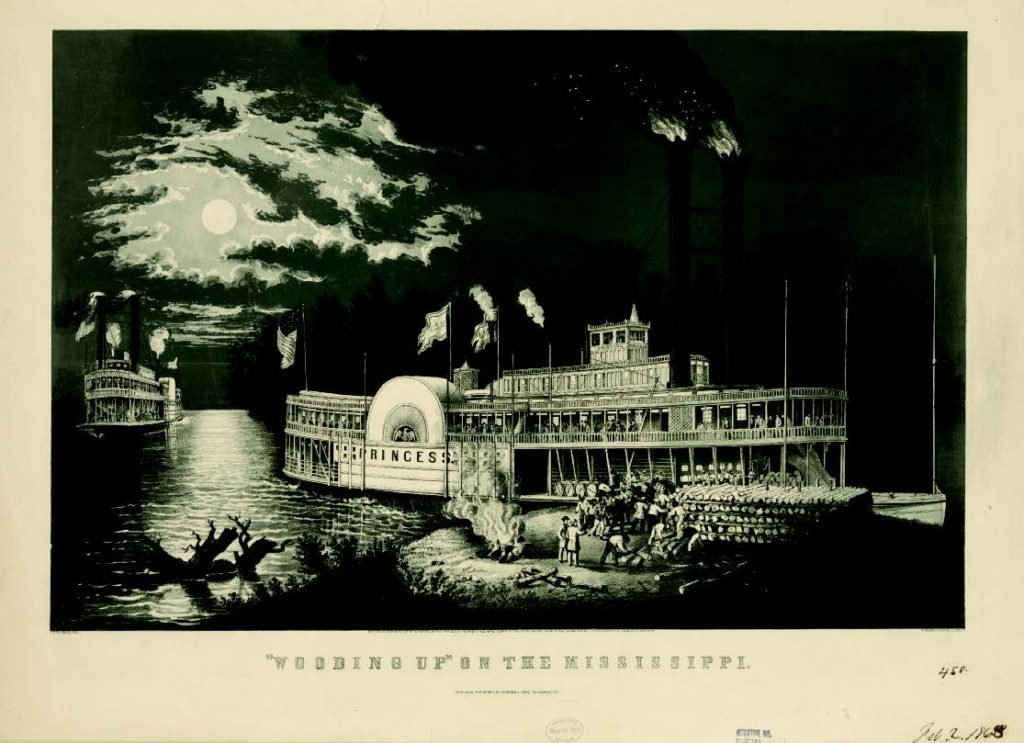 """Wooding up"" on the Mississippi, F. F. Palmer, artist; Currier & Ives, lithographers, New York, ca. 1863. Library of Congress (LC-DIG-pga-00976)."