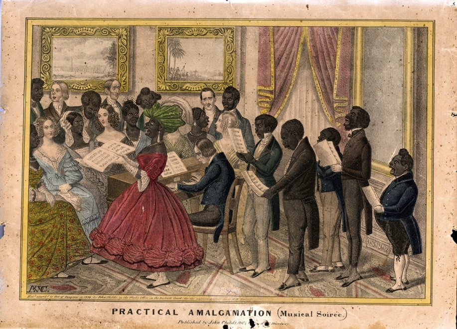"Hand-colored lithograph titled ""Practical Amalgamation (Musical Soirée),"" ca. 1839, by Edward Williams Clay. In the collection of the American Antiquarian Society, 153050. (http://gigi.mwa.org/netpub/server.np?quickfind=153050&sorton=filename&catalog=catalog&site=public&template=results.np)"